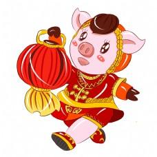 2019猪年新年红红火火手绘卡通吉祥猪猪