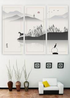中式水墨风景马儿远山三联书房装饰画