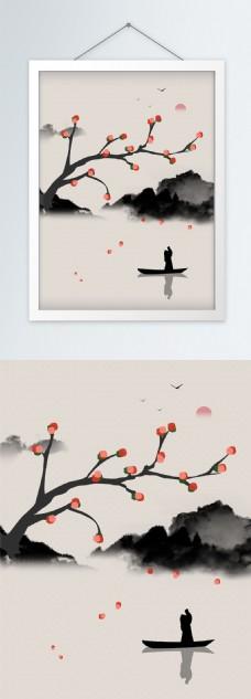 中国风落英送别意境山水装饰画