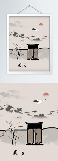 中式庭院大雁山水地产装饰画