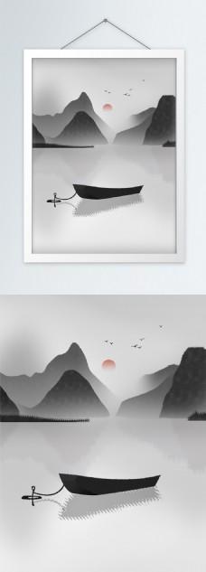 手绘中式插画静谧湖面山水客厅装饰画