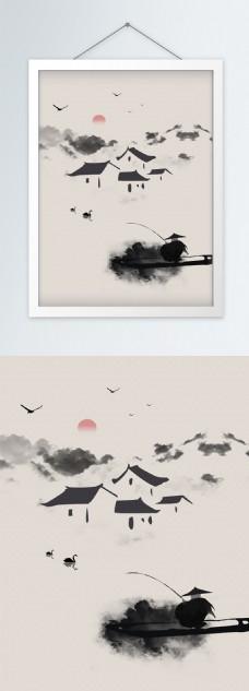 中国风垂钓水墨村落书房挂画装饰画