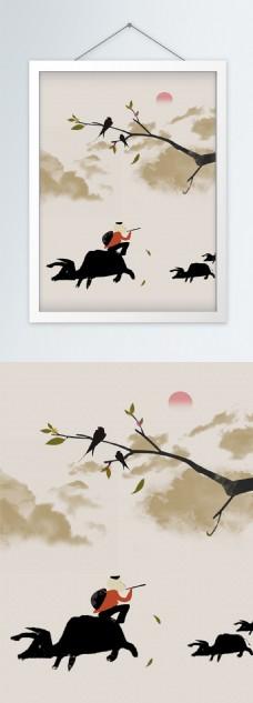 中式复古牧童黄牛意境装饰画