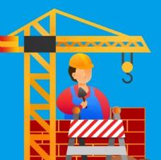 工程建筑工人吊机施工图