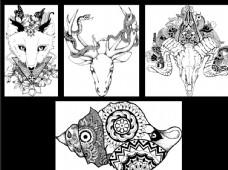 黑白手绘装饰失量画动物系列