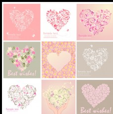 爱心花纹卡片设计