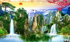 流水生财风景画