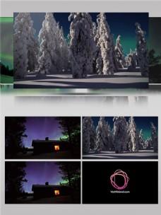壮观雪山极光视频音效