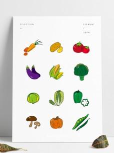 商用手绘矢量扁平化简约蔬菜组合手账元素