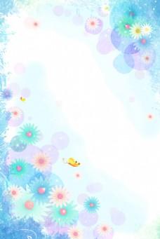 小清新蓝色小花展板背景