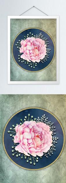复古手绘水彩花朵立体创意装饰画