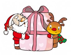 手绘卡通圣诞老人麋鹿元素