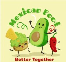卡通跳舞的墨西哥表情食物