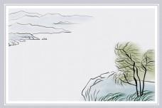 古风水墨柳树广告背景图