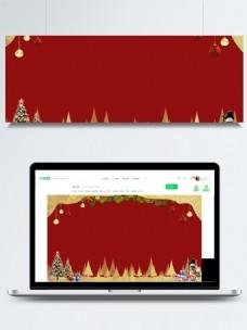 红色圣诞卡通展板背景