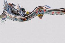 古朴古风中国风房檐背景