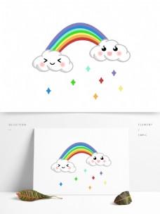 简笔画手绘可爱颜表情卡通萌系彩虹白云