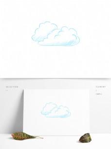 手绘简笔线条白云