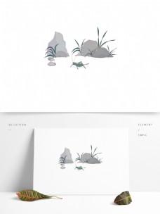 手绘蟋蟀场景昆虫可商用元素