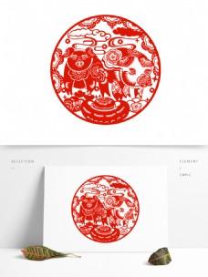 猪年红色窗花剪纸