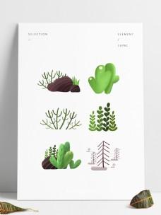 植物多肉叶子仙人掌装饰背景可爱可商用元素