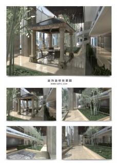 现代室内风景竹子亭子效果图模型