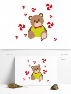 卡通风格冬天小熊元素