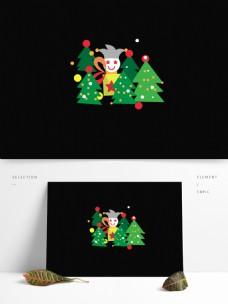卡通风格圣诞节元素