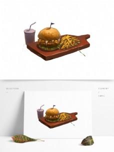 复古手绘砧板上的快餐设计可商用元素