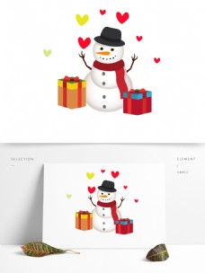 卡通风格冬天雪人元素