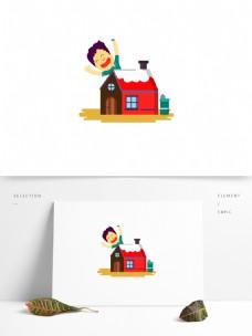 卡通风格冬天房屋元素