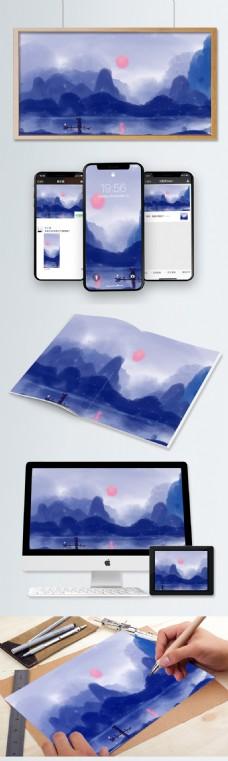 桂林山水彩绘水墨晕染山水插画