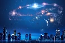 蓝色智能光线科技背景