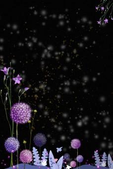 简约大气黑色紫花淘宝背景H5背景