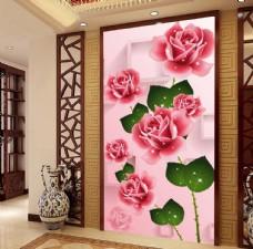 浪漫玫瑰花3D玄关