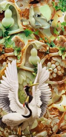 浮雕仙鹤葫芦花藤玄关