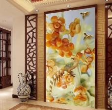 玉雕梅花中式玄关