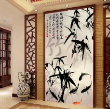 水墨竹子中式玄关