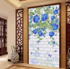 蓝色玫瑰花藤手绘3D玄关
