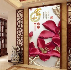 家和富贵彩雕玉兰花玄关