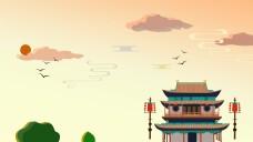 中国风水墨山水古塔海报背景