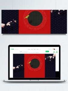 简约红色喜庆新年展板背景