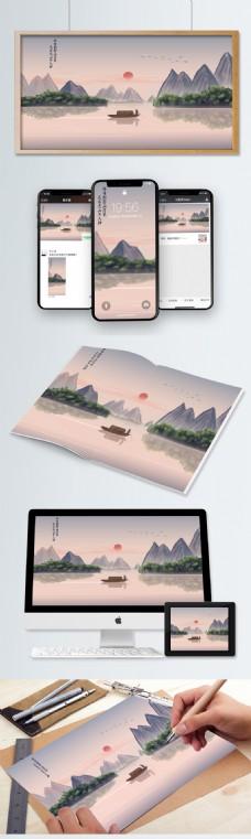 中国风山水墨画桂林山水旅游景点诗意插画
