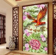 木雕牡丹雄鹰家和富贵中式玄关
