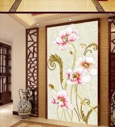 清新时尚现代花朵玄关