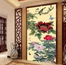 牡丹花鸟中式玄关