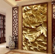 木雕牡丹花中式3D玄关