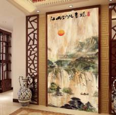 江山如此多娇大理石中式玄关