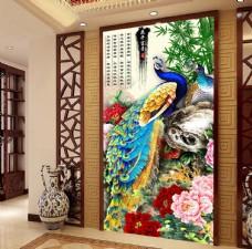 孔雀牡丹中式古典玄关