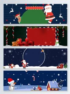 夜晚圣诞节卡通促销banner背景
